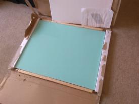 Turquoise glass splashback