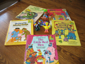 5 Sesame Street Books and 6 characters