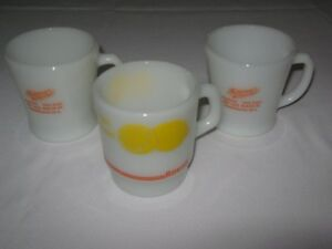FIRE-KING MUGS  from MOONEY'S  DRUG  STORE,YARMOUTH,N.S.LOT of 3