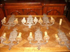 WALL SCONCES SET OF 6 MATCHING VINTAGE