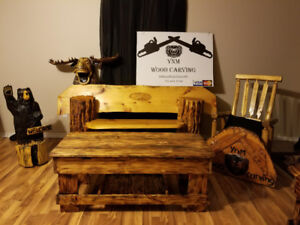 Chainsaw carvings and rustic furniture