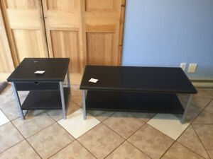 Coffee and matching end table, black