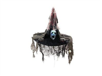 EUROPALMS Hexenhut mit LED - Halloween Hexenhut mit leuchtendem Totenschädel