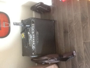 Line 6 Spider amp with foot controller.