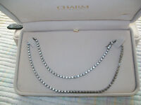 STERLING SILVER DIAMOND LINK NECKLACE / PURCHASED FROM CHARMS