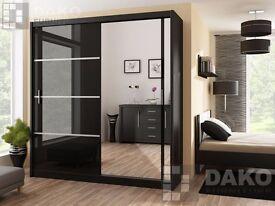 Wardrobe VISTA Black Gloss available on 3 sizes 150cm, 203cm, 250cm