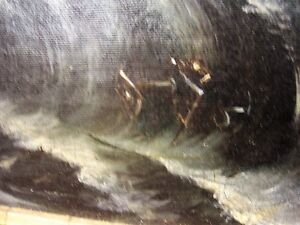 Antique oil painting, depicting a shipwreck Kingston Kingston Area image 4