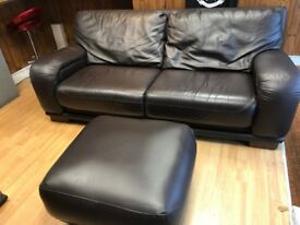 High Quality 3 Seater & 2 Seater Leather Sofas & Footstool