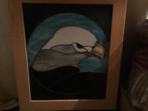 Stain glass bald eagle