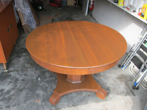 Solid Oak Pedestal Dining Table - circa 1920's