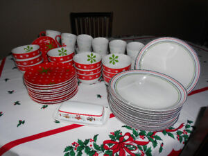 Complete Set of Christmas Dishes-12 Place Settings-REDUCED