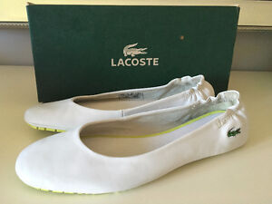 Lacoste White Leather Flats