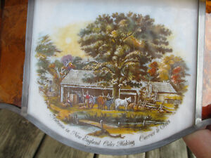 """Antique Currier & Ives Ceiling Lamp Stain Glass Shade Dia. 20.5"""" Stratford Kitchener Area image 7"""