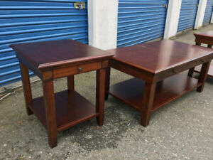 Beautiful solid wood coffee table and end tables