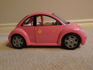 Barbie dolls, horse and carriage, cars, and horses + accessories