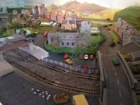 N Gauge track layout with points, motorised turntable & switches. With 'landscape' & out buildings.