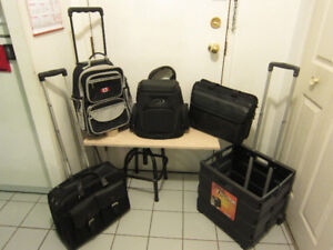 Backpacks, crate and suitcases, w/wheels and telescopic handle