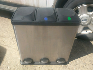 3 bin stainless garbage can