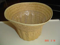 FOUR ASSORTED TYPES OF WICKER WOVEN BASKETS FOR GIFTS OR CRAFTS