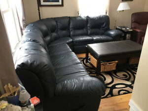 For Sale: Blue Leather match Sectional in very good condition