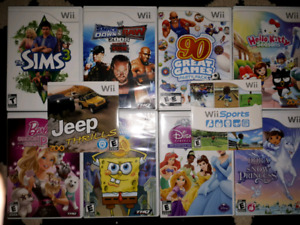 Wii Console, remotes, and games.