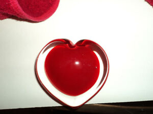 Glass Heart Paperweight-Reduced  $2.50