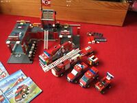 Lego city fire station and vehicles lot bundle