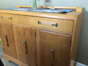 Antique Art Deco china hutch and sideboard