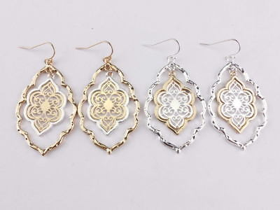 Two Tone Filigree Clover Floral Statement Chandelier Earrings Christmas Gifts