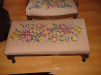 HAND EMBROIDERED FIRESIDE BENCH - ANTIQUE