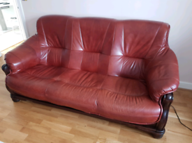 Real leather sofa set 3+2 - perfect condition