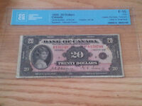 1935 Bank of Canada $20 cccs Fine 15  small seal english
