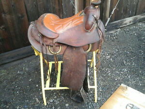 "15"" Vintage Saddle King of Texas Saddle with Girth"