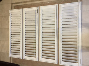 White Wood California Shutters Fits Standard Doors - 4Pieces