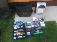JOB LOT CARP FISHING ITEMS - TRIPOD BAIT FIRE END TACKLE LUGGAGE COOKING ++