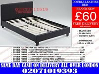 double Leather Bed in two colours