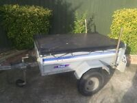 "5ft by 3ft 6"" larger franc tipping trailer + cover"