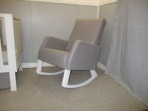 Naptime Nursery Rocker Made In Canada Grey Linen + White
