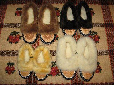 er, Mokassins, Pantoffeln aus Naturleder und Schafwolle, Paar (Mokassins Für Kinder)