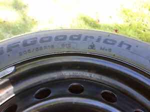 Four Used 205/55R16 Winter Tires on Rims with TPMS Toyota