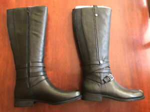 Black leather boots- brand new size 6.5