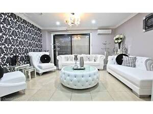 SET OF WHITE FORMAL LOUNGES LEATHER WITH CHASE AND COFFEE TABLE Prestons Liverpool Area Preview