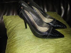 """Chaussure noir cuir patine crocodile-Gr.7-Talon: 4"""" 1/4"""