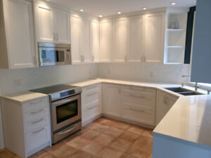 Gourmet kitchen cabinets with caesarstone countertops