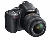 Nikon D5100 with 18-55m lens and camera bag in perfect condition