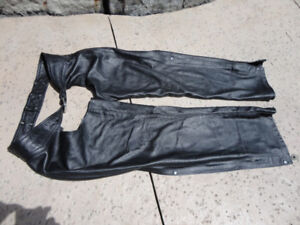 Set of Premium 100% Leather Adult Motorcycle Chaps Size Large