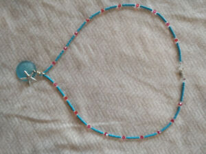 Swarovski crystal and glass beads necklace with sea glass pendan