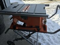 "RIDGID TABLE SAW 10"" IN EXCELLENT CONDITION"