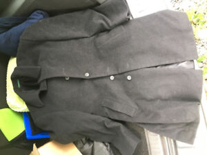 Men's Ralph Lauren long button up black coat- Size medium