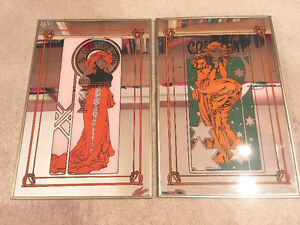 Pair of Vintage Mirror French Cafe Art/Signs London Ontario image 1